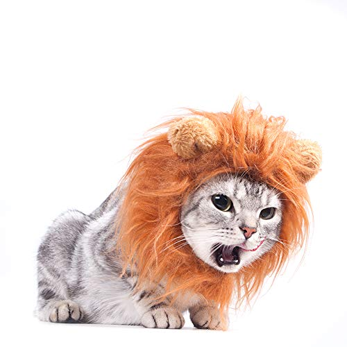 GALOPAR Halloween Cat Lion Mane Wig Costume, Little Dog Mane Lion, Adjustable Washable Funny Pet Cute Hat Hair Mane with Ears for Holiday Photo Shoots