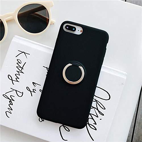 ZHYLIN Telefoonhoesje Originele Vloeibare Siliconen Zachte Hoesje voor iPhone 7 8 Plus Mode 3D Stand Ring Grip Houder Case Back Cover, IPhone 7P, Zwart