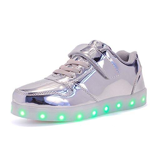 Voovix Unisex-Kinder Licht Schuhe mit Fernbedienung Led Leuchtende Blinkende Low-top Sneaker USB Aufladen Shoes für Mädchen und Jungen(Silber,EU30/CN30)