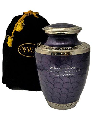 NWA Custom Engraved Lavender Adult Funeral Cremation Urn with Bag