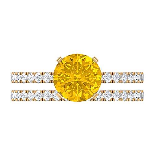 7.5 MM Lab Created Yellow Sapphire Ring, D-VSSI Moissanite Half Eternity Band, Side Stone Engagement Ring, Wedding Bridal Ring Set, 14K Yellow Gold, Size:UK I1/2