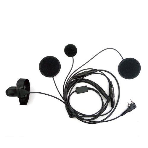 zeadio - Auriculares para casco de moto con micrófono para Kenwood Baofeng de 2 pines