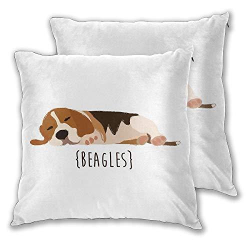 nonebrand Beagles - Juego de 2 fundas de cojín para sofá, dormitorio, coche, con cremallera, 45,7 x 45,7 cm, para decoración diaria