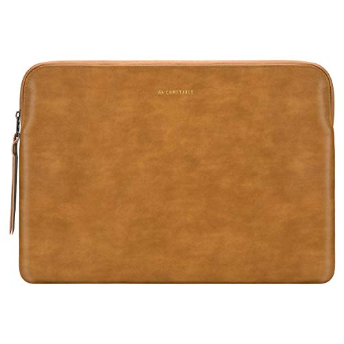 Comfyable Laptop Sleeve Compatible with 16 inch MacBook Pro 2020 & 15-15.6 inch HP Dell Computer, Slim Protective PU Leather Bag Waterproof Cover Notebook Case for Mac, Bourbon Brown
