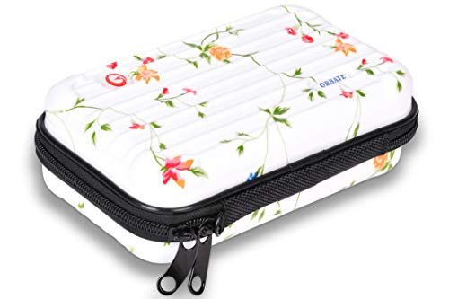 Ornate Mini Suitcase, Tiny Purse Hard Make up Carrying Case for Cosmetics and Toiletry, Organizer bag for Makeup Brush, Water Resistant and Shockproof 7 Inch Travel Case for Essentials (Floral)