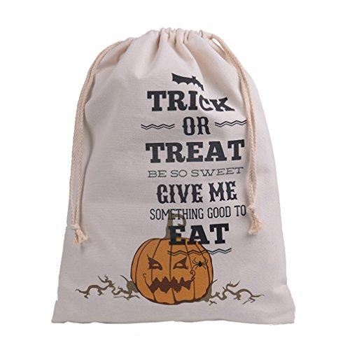 ODN Halloween Geschenktüte Bonbon-Tüte, Baumwolle Leinwand Kordelzug Sack für Halloween Süßigkeit Keks Süßes Geschenk-Taschen (Stil 2)