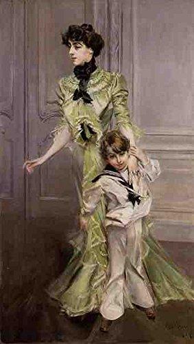 Boldini Giovanni Portret Van Madame Georges Hugo Nee Pauleen Menard Dozian En Haar Zoon Jean 5 A3 Doos Canvas Print