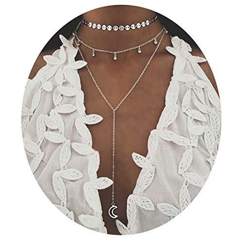 Epinki Chapado en Plata 3 Capa Collar Plata Lentejuelas Luna Cristal Cadena Multicapa Collar para Mujer y Chicas