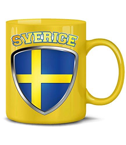 Schweden Sverige Sweden Swedish Mug Fan Fun Artikel Kaffee Tasse Becher Kaffeetasse Kaffeebecher Kaffeepott trinkbecher Geburtstags Geschenk swedische deko Ideen Fahne Flagge lustig Cup Design Gelb