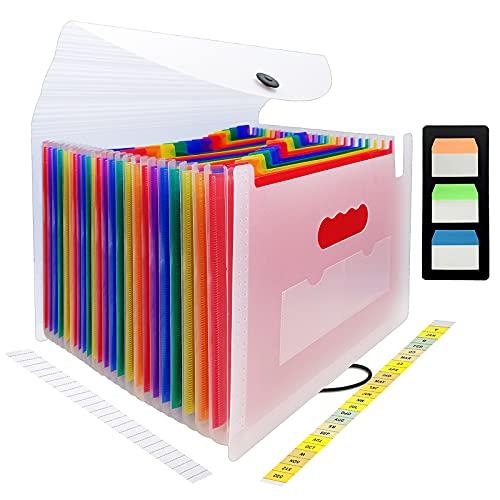 CHEPULA 24 Pockets Expanding File Folder Multicolored Accordian File Organizer File Organizer Expandable Folder with Expandable Cover Document Organizer A4 Size File Box (White)