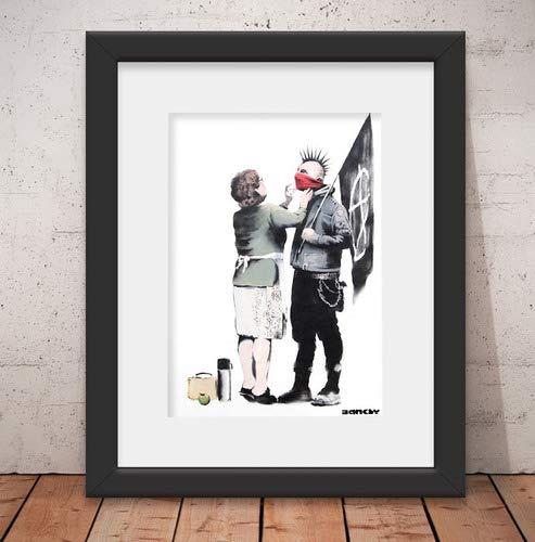 Quadro Decorativo Banksy Punk Mum & Vidro & Paspatur 46x56cm Qt12