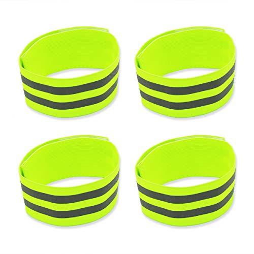 Labewin Reflektierende Armbänder Reflektierende Lauf-Armbänder Hohe Sichtbarkeit Elastische Knöchelbänder Sicherheitsausrüstung für Radfahren Laufen Joggen Laufen für Kinder und Erwachsene (4er-Set)