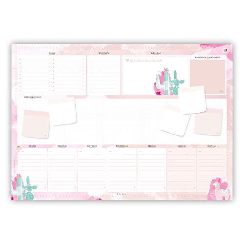 Rosa Schreibtischunterlage in DIN A2 aus Papier zum Abreißen. Mit Kaktus und Alpaka Motiv. Design in rosa und pinkem Aquarell, besonders für Frauen, ... zum Abreißen. Stay Inspired! by Lisa Wirth