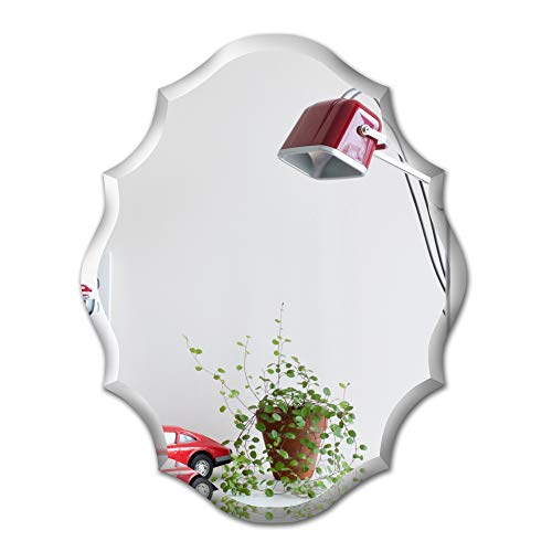 MIRROR TREND Emma Shaped Frameless Beveled Mirror with Solid Core Wood Backing