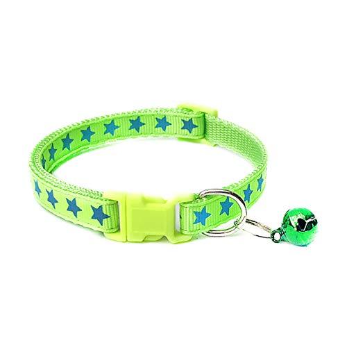 Collar para mascotas, perro y cachorro, estrellas con estampado de campana, collar ajustable, correa para el cuello, color verde fluorescente