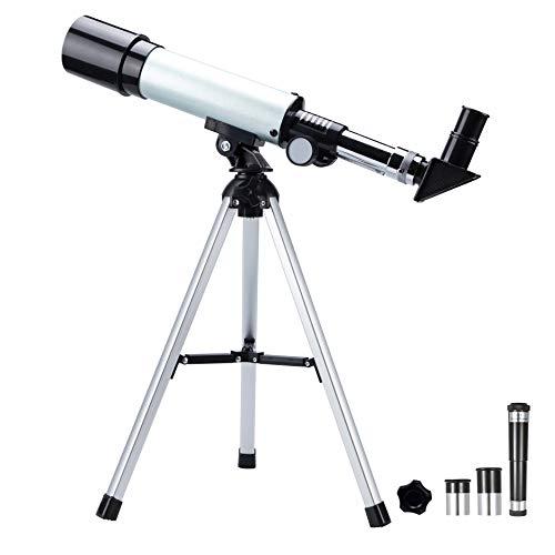 Teleskop Astronomie, Astronomy Spiegelteleskop mit Tragbares 50mm Refraktor Fernrohr, Ideal für Kinder Einsteiger, mit Verstellbarem Stativ, Zwei Okulare für Mond, Sterne, Planeten und Landschaft