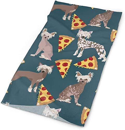 NA Chinese Crested Hond Haarloze Hond Voedsel Pizza Leuke Leuke Leuke Hond Pizza Voedsel Print Voor Hond Liefhebbers Hoofdbanden Bandana Cap Sjaal Gezicht Masker Hals Gaiter Hoofddoek Zon UV Bescherming