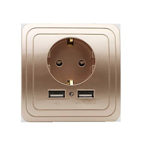 ASDFGT-778 Socket de Enchufe de la UE Dual USB Puerto de Power Outlet 2000MA 16A UE Smart Home Charger Charger Adaptador Toma de Carga con Adaptador de Pared USB (Type : Champagne)