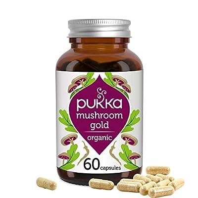 Pukka Mushroom Gold Organic Herbal Supplement Full Spectrum Reishi, Maitake and Shitake  Immune Support*  Superior Absorption formula  Rich in Vitamin D Non-GM   Suitable for Vegans   60 Capsules