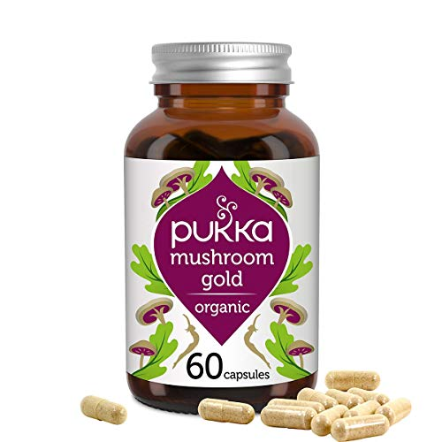 Pukka Mushroom Gold Organic Herbal Supplement Full Spectrum Reishi, Maitake and Shitake Immune Support Superior Absorption formula Rich in Vitamin D Non-GM Suitable for Vegans, 60 Capsules