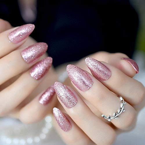 DCJ® Falsche Nägel Wunderschöne Kunstnägel aus roségoldfarbenen Stilettos weisen auf glitzernde Kunstnägel hin. Drücken Sie für eine vollständige Abdeckung