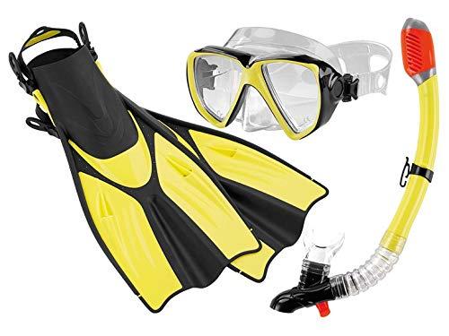 Crivit Professionelles Profi Tauch und Schnorchelset Komplett-Set Tauchmaske Schnorchel mit integrierter Signalpfeife und Jet-Fin-Flossen (L/XL, dunkel Gelb)