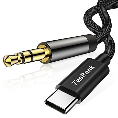 Cable Audio USB C a 3.5mm Jack,TesRank Cable Auxiliar Tipo C a Jack 3.5mm Macho Adaptador Audio Estéreo Aux Cable Conector para Móvil Tipo C,Auriculares,Altavoces,Coche,MP3,Ordenador-1M