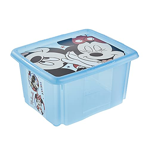 keeeper Box contenitore con coperchio 'Topolino', Rotabile e impilabile, Per bambini, 24 litri, Paulina, Blu trasparente