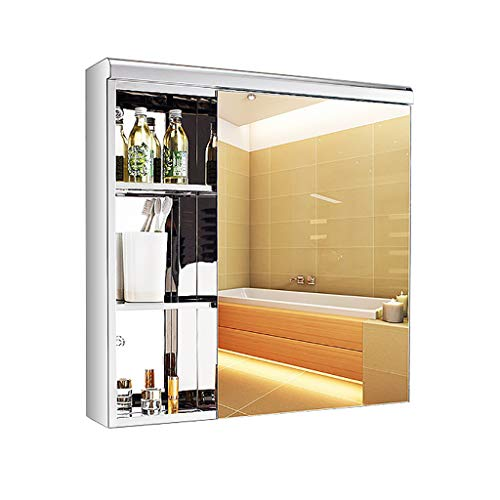 NJ Montado En La Pared Armario Espejo Baño Ahorra EspacioLongitud: 60cm-70cm Armario con Espejo De Baño Acero Inoxidable Diseño Moderno De Muebles De Baño Mueble Espejo De Baño