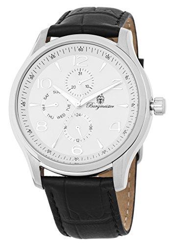 Burgmeister heren datum klassiek kwarts horloge met lederen armband BMT04-182