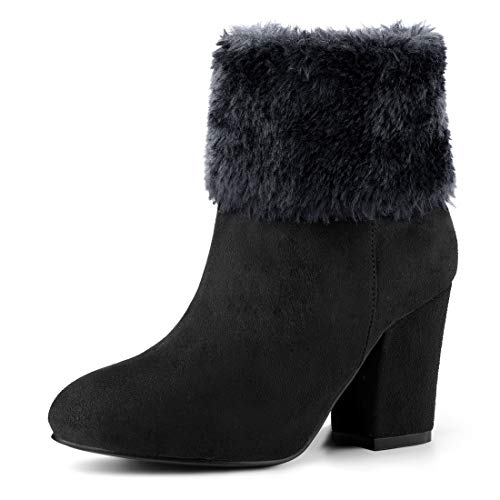 Allegra K Women's Faux Fur Snow Suede Chunky Heel Black Ankle Boots – 8 M US