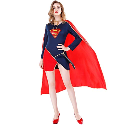 Disfraz de Halloween para adultos Capa Sexy Traje de Superman Juego Uniforme Trajes de mujer Disfraces de Halloween Sin zapatos,M