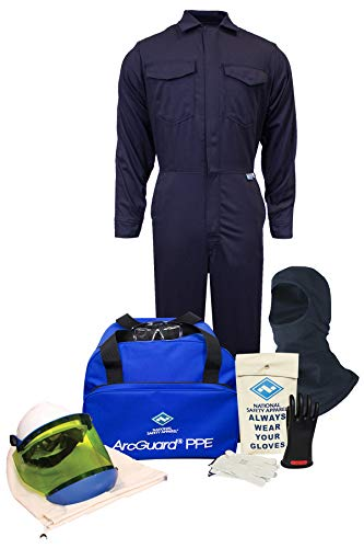 National Safety Apparel KIT2CV11BXL10 ArcGuard CAT 2 Arc Flash Kit with FR Coverall and Balaclava, 12 Calorie, X-Large, Size 10 Gloves, Navy