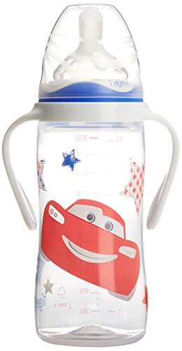 Disney Baby 80601909 - Biberón 300 ml con asas, diseño Cars, para 6-12 meses, color rojo / blanco