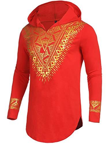 Pacinoble Afrikanisches Dashiki-Hemd, metallisches Blumenmuster, schmale Passform, langärmelig, V-Ausschnitt, Hemdbluse - Rot - Mittel