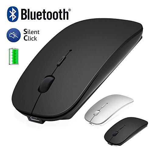Wireless Bluetooth Mouse for Laptop/Macbook/iPad/iPhone (iOS13.1.2 and above) / Android PC/Computer, Rechargeable Mini Silent Mouse for Windows/Linux/Mac, 3 DPI Adjustable Bluetooth4.0 + 2.4G Black