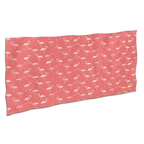 WDS6DF Flamingos - Toalla de baño de gran tamaño, color blanco, absorbente y de secado rápido