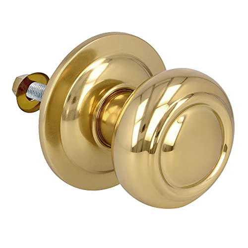 Amig - Pomo Mod. 52 Dorado Redondo de Latón Pulido para Puertas Exteriores de Entrada | Diámetro Tirador Ø70 mm · Altura 73,5 mm | Incluye Tornillo y Tuerca de Fijación