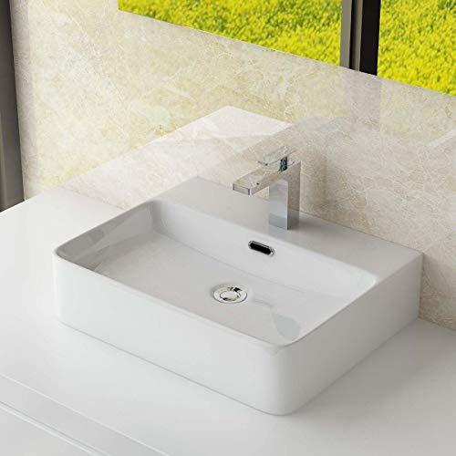 Waschbecken24 KERAMIK AUFSATZWASCHBECKEN/HÄNGEWASCHBECKEN WASCHTISCH WASCHSCHALE WASCHPLATZ FÜR BADEZIMMER GÄSTE WC (50x42x13 cm)