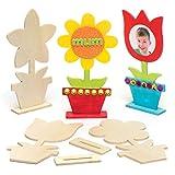 "Baker Ross Bastelsets ""Blume"" aus Holz für Kinder - Kreatives Bastelmaterial zum Dekorieren (4..."