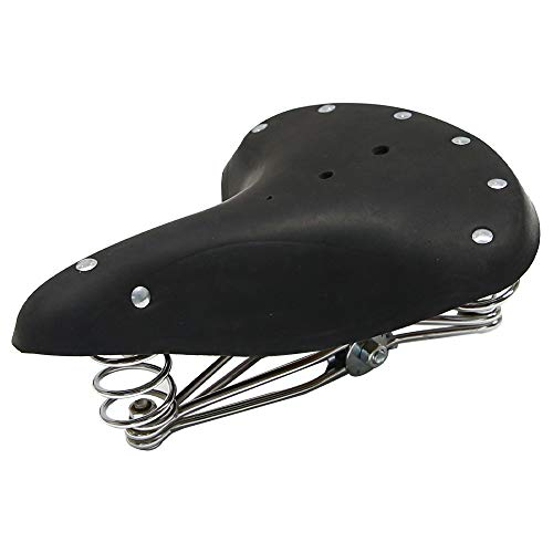 UNISTRENGH Bike Saddles Vintage Classic Style Comfort Genuine Leather Bicycle Seat with 3 Springs (Black)