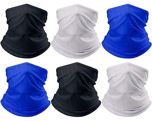 Dr.Wilson 6 Pieces Neck Gaiters for Men/Women Summer UV Protection Sunscreen Breathable Bandana (Black, Royal Blue, Light Grey, 6)
