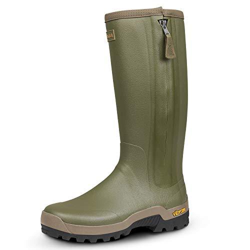 Harkila jachtgummisitefel Orton Zip Boot - rubberen laarzen gevoerd met 3 mm neopreen - antislip Vibram®-zool, maat: 44