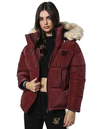 Sik Silk - Chaqueta Tipo Plumas SSW-1333 SHORTT Puff Parka Jacket Burgundy -Chaqueta DE Abrigo para Mujer (XXS)
