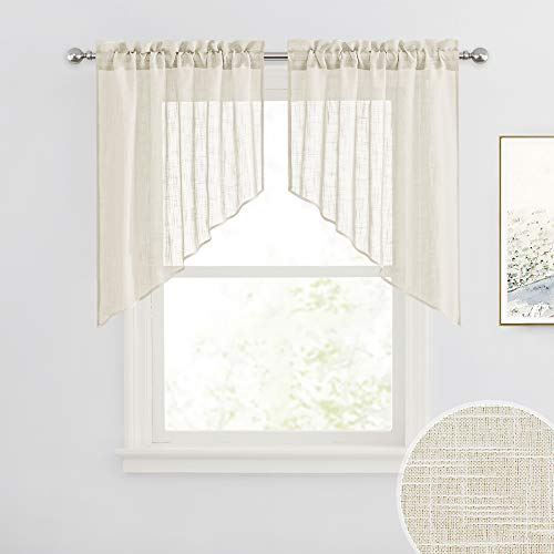 RYB HOME Semi Sheer Curtains Valances and Swags, Soft Window Topper for Kitchen Window Living Room Cafe, Warm Beige, 36 x 36 inch per Panel, Set of 2