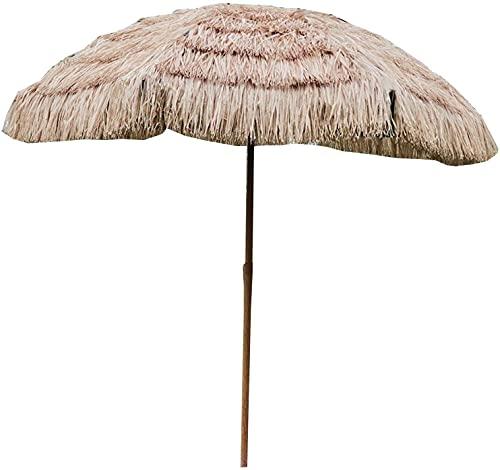 Parasol al Aire Libre, Ø6.5 FT / 2.0 M Parasol Hawaiano, Paraguas de Playa, sombrilla con Techo de Paja, Paraguas de jardín, para Paja Paja Terraza al Aire Libre Picnic Protección UV, Ninguna Base