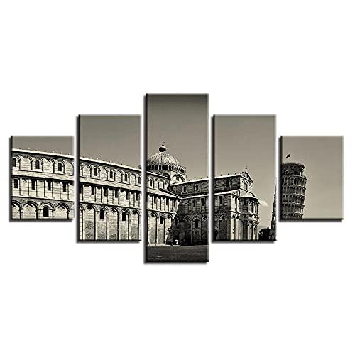 ARIE 5 Piezas Cuadro Torre Inclinada De Pisa 5 Piezas Impresión En Lienzo Tablero del Moderno Cuadro De Pintura Póster De Arte Sala De Decoración Hogareña