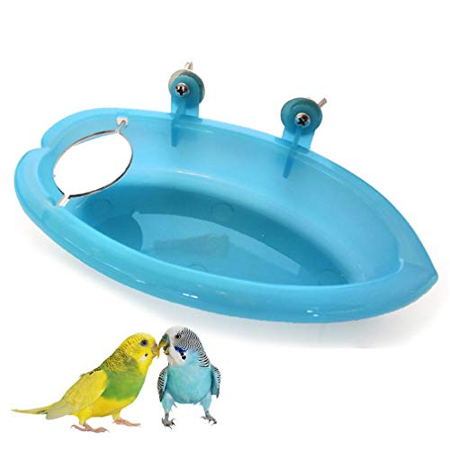 WanYettly Baño de Aves con Espejo Pequeña Mascota Jaula de Pájaros Ducha Bañera Loros Piscina para Niños Alimentador de Alimentos Tazón de Agua para Canario Periquito Limpiando Suministros, Es