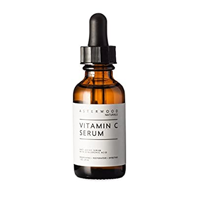 Vitamin C 1 oz Serum with Organic Hyaluronic Acid - Lighten Sun Spots Anti Aging Anti Wrinkle - Light and Oxygen Stable MAP Vitamin C - ASTERWOOD NATURALS - Classic Formula Bottle by Baivon