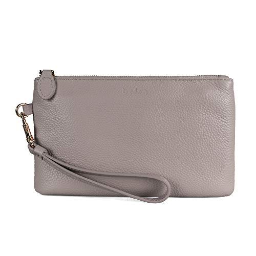 Befen Women Genuine Leather Cell Phone Clutch Wallet, Smartphone Wristlet Purse - Fit iPhone 8 Plus - Light Beige Pink
